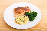Baked Salmon with Broccoli and Vegetable Rice