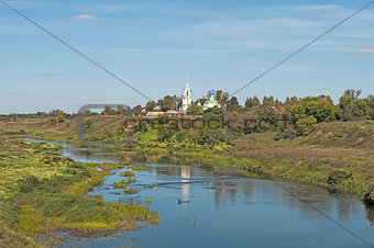 Beautiful country summer landscape with river