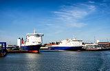 Cargo ships in Esbjerg harbor, Denmark
