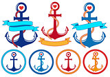 anchors with ribbons and frames, vector set