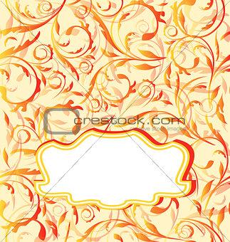 Autumn orange background, seamless floral texture