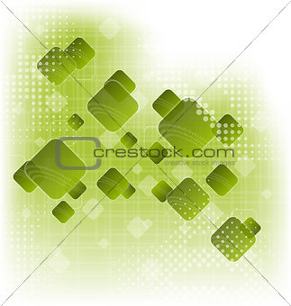 Abstract creative green background with squares