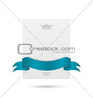Celebration card with blue ribbon and crown isolated on white ba
