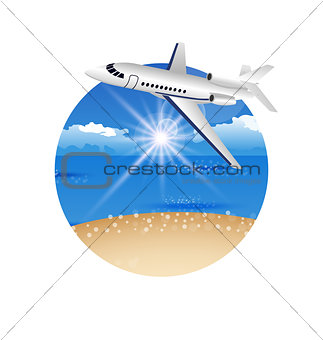 Beautiful summer postcard with beach and plane