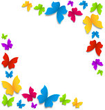 Spring background with painted butterflies border