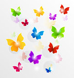 Spring wallpaper with painted butterflies