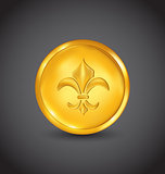 Golden coin with fleur de lis on black background