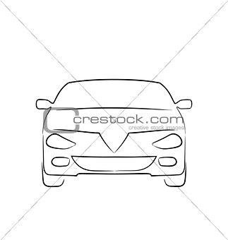 Abstract car isolated on white background, front side