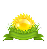 Nature symbols -  sun, green leaves, grass, ribbon