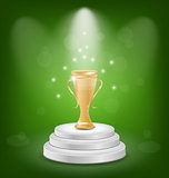 Football cup on podium, light background
