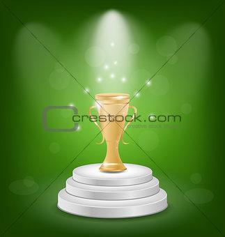 Football cup on podium, light background