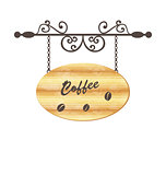 Wooden sign with coffee bean, floral forging elements