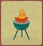 Barbecue card with sausage and flame