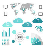 Set of infographic elements for your reports with electronic dev
