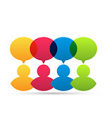 Colorful people icons with dialog speech bubbles