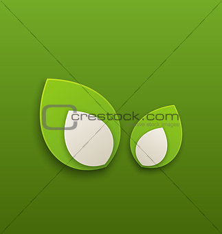 Green paper leaves, eco friendly background
