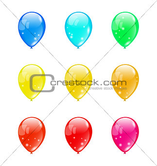 Set colorful balloons isolated on white background (1)