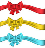 Collection colorful gift bows with ribbons