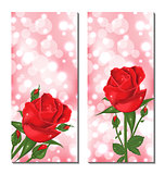 Set of beautiful cards with red roses