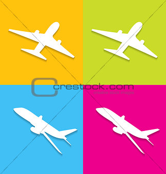 Aircraft symbols isolated on colorful background