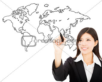 smiling business woman  drawing  global map concept