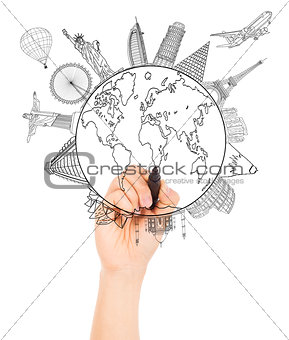 hand sketching the Earth and Global map with landmark