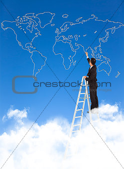 Business man standing a stepladder and drawing  global map
