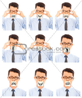business man show different negative facial expression