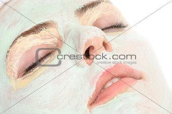 beauty salon, closeup of facial mask applied