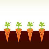 Cute beautiful cartoon Carrot characters in row