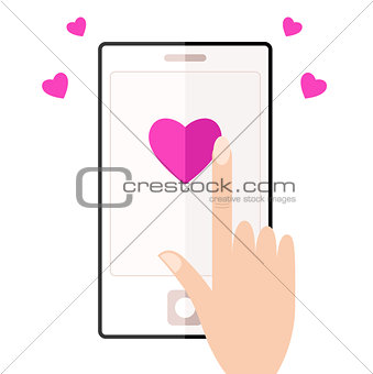 Cell phone with touching hand and hearts