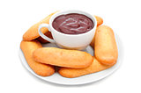 hot chocolate with typical pastries of Catalonia