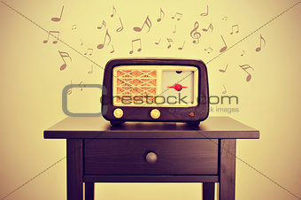 antique radio and musical notes