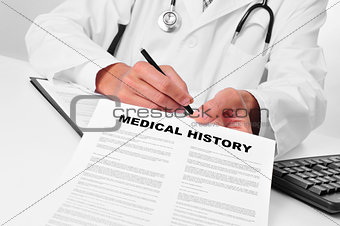 doctor showing a medical history