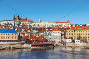 Old town and Prague castle with river Vltava, Czech Republic