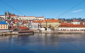 Old town and Prague castle with river Vltava, Czech Republic