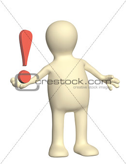 3d puppet with exclamation mark of red color