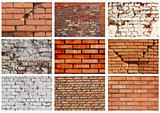 Set textures of brick walls