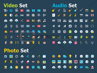 Photo, video and audio icon set