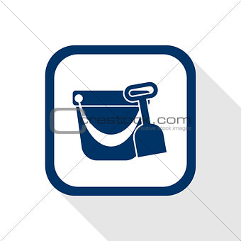 pail and shovel flat icon