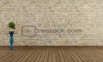 Empty vintage room stone wall