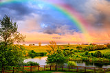 Rainbow over countryside