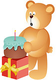 Teddy bear blowing out candle
