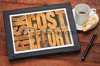 cost, effort, risk - business concept