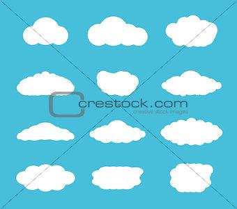 Flat design cloudscapes collection