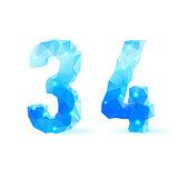 Blue polygonal font