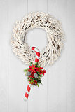 Christmas wreath and cane