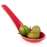 Olives on ceramic spoon