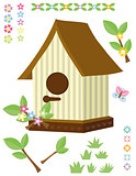 Birdhouse, flowers, grass and butterfly