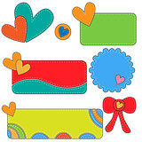 Colorful vector tags, labels and bow with hearts